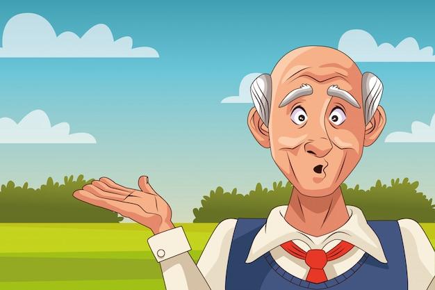 Старик больной болезнью альцгеймера в полевых условиях