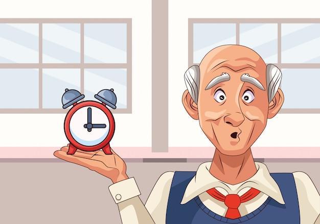 Старик пациент с болезнью альцгеймера с будильником