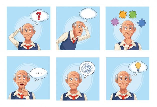 Старики пациенты с болезнью альцгеймера с речью пузыри кусочки головоломки