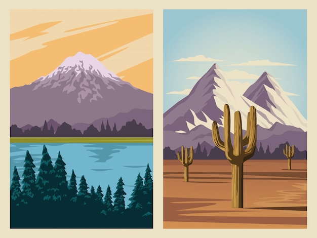 湖と山のシーンの美しい風景