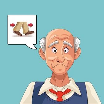 Старик пациент с болезнью альцгеймера с мыслями обувь