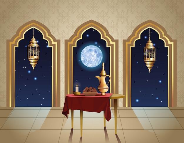 Праздник рамадан карим с чайником в таблице иллюстрации