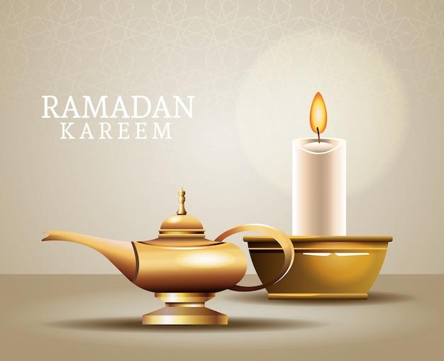 魔法のランプとキャンドルでラマダンカリームお祝い