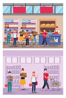 フェイスマスクベクトルイラストデザインのスーパーで買い物の人