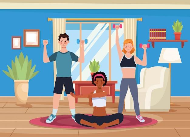 家で運動をしている異人種間の人々