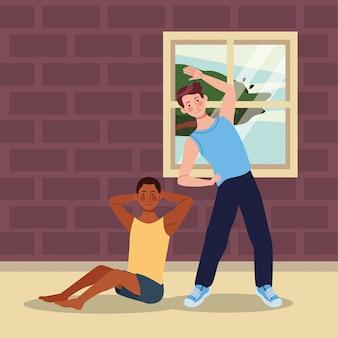 家で運動をしている異人種間の男性