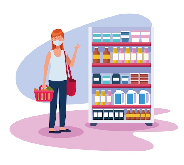 フェイスマスクとスーパーで買い物の女性