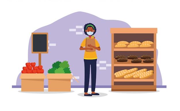 アフロ女性がフェイスマスクとスーパーで買い物
