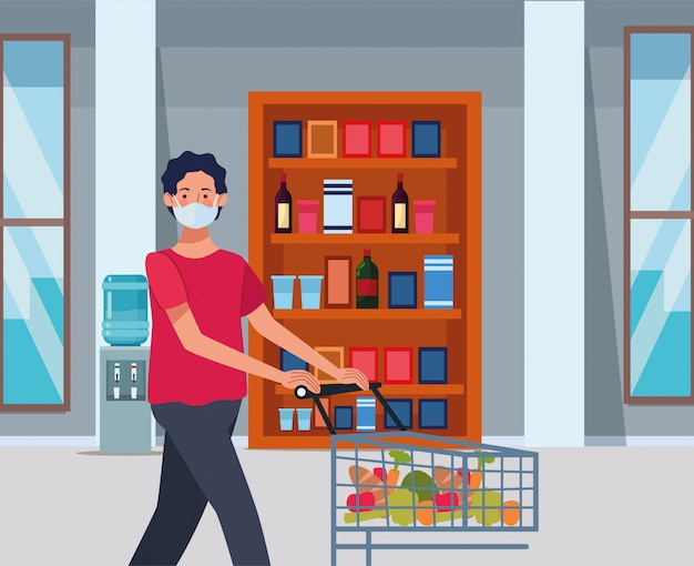フェイスマスクとスーパーで買い物の男