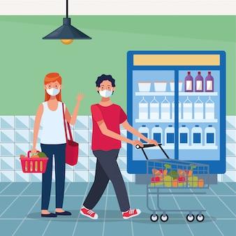 フェイスマスクとスーパーで買い物のカップル