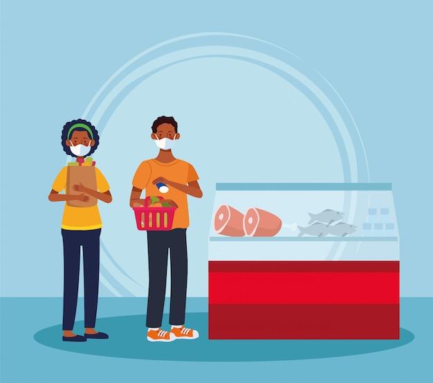 アフロのカップルがフェイスマスクとスーパーで買い物