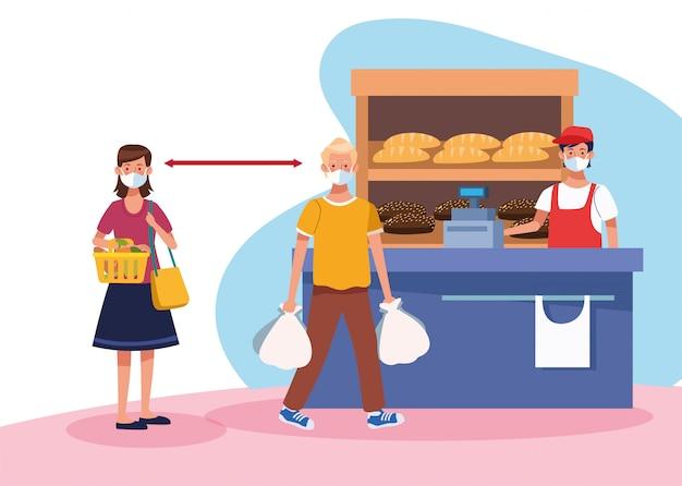 フェイスマスクとセールスマンのスーパーで買い物のカップル