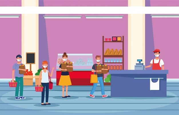 フェイスマスクとスーパーで買い物の人