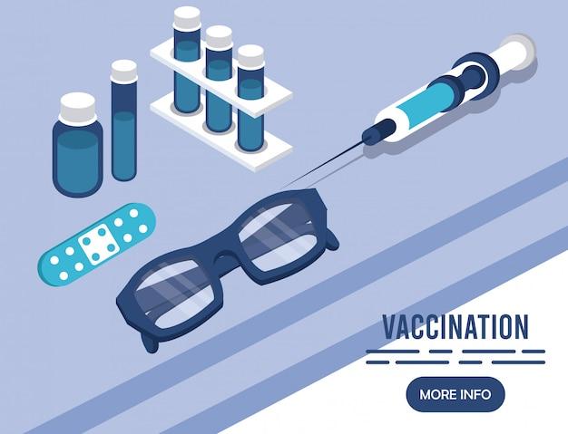 Служба вакцинации с инъекцией изометрических иконок