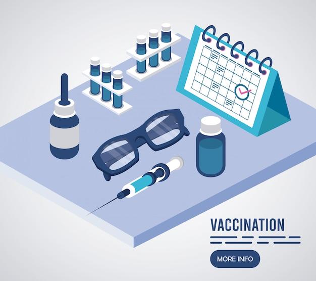 Служба вакцинации с календарем изометрических иконок