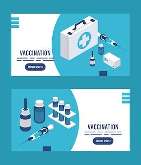 Служба вакцинации с медицинским набором изометрических иконок