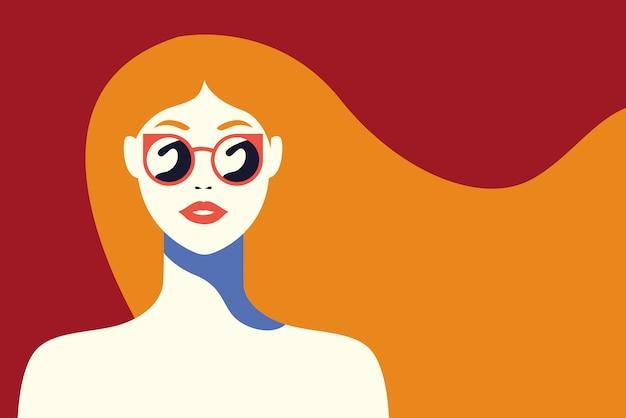 サングラスでファッショナブルな美しい女性