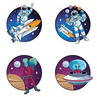 Группа космонавтов и пришельцев в космосе символов иллюстрации