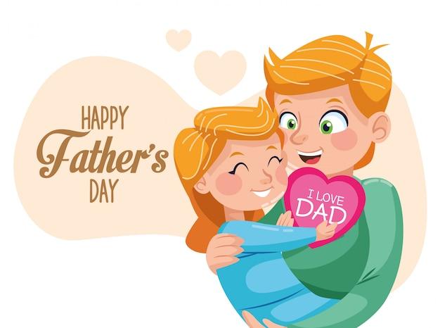 Счастливая отцовская открытка с папой, несущей дочь