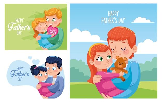 Счастливые отцы день открытки с папами, несущими дочерей