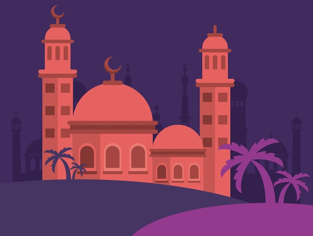 モスクの建物のシーンベクトルイラストデザインとイードムバラクお祝いカード