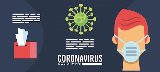 Вирус короны инфографики с человеком, использующим медицинскую маску дизайн векторные иллюстрации