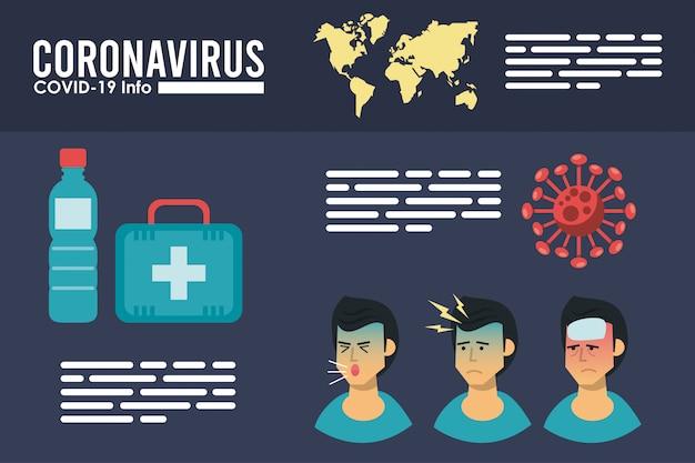 Вирус короны инфографики с симптомами