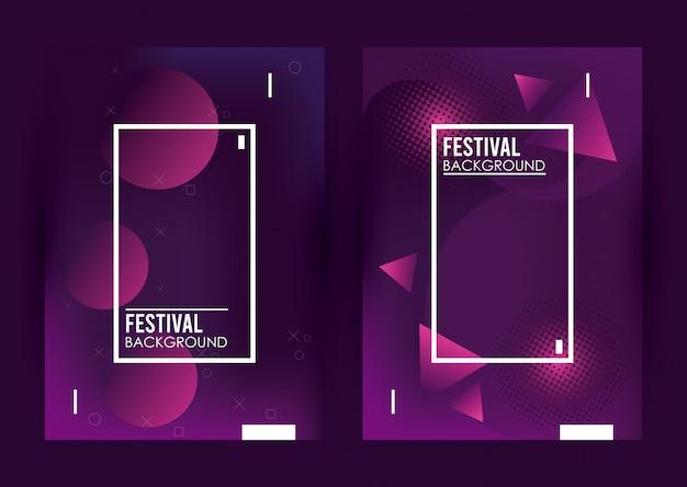 Квадраты кадры в красочном фоне фестиваля