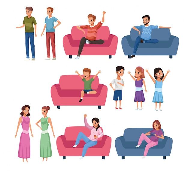 Группа членов семьи оставайтесь дома