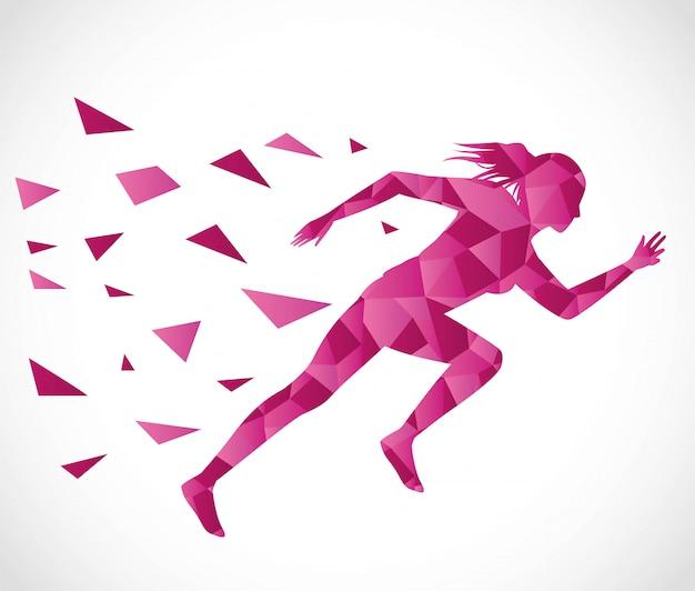 Силуэт спортивной бегущей женщины