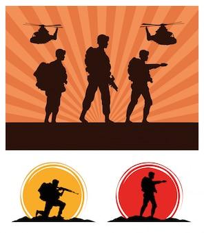 Военные солдаты с пушками и силуэтами вертолетов