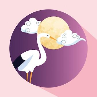 かわいいコウノトリと月のアイコン画像