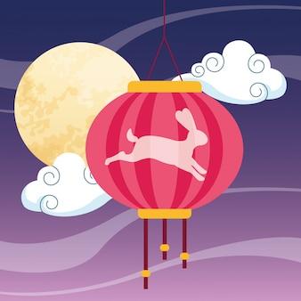 中国のランタンと月
