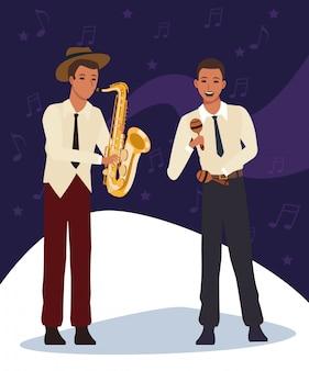 マラカスとサックス、ジャズ音楽バンド