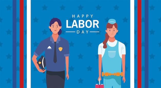 女性警察官と整備士との幸せな労働者の日のお祝い