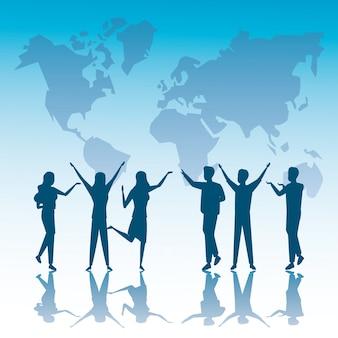 ビジネス人々のチームワークのシルエットと地球惑星地図のグループ
