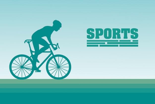 アスレチック男自転車に乗るスポーツシルエット