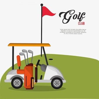 ゴルフクラブの車のバッグとクラブの旗