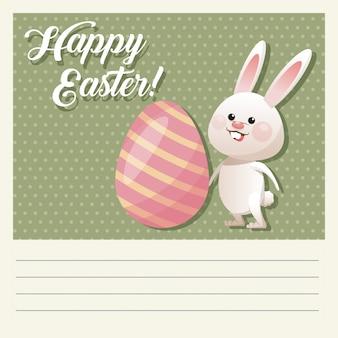 Мультфильм счастливый пасха милый кролик яйцо декоративный