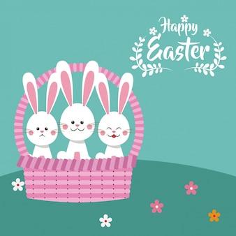Счастливые пасхальные кролики в корзине декоративные
