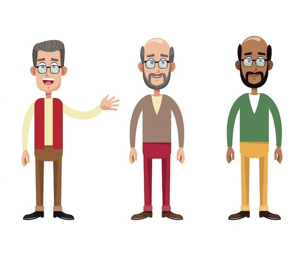 グループ男性祖父画像