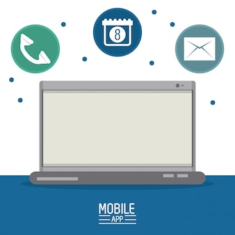 Иллюстрация мобильных приложений и технологий