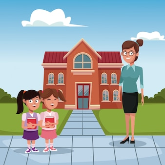 Дети и учителя в школе