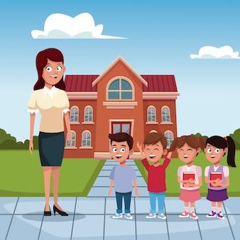 Учитель с детьми в школе