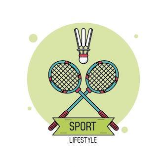 バドミントンのスポーツライフスタイルのカラフルなポスター