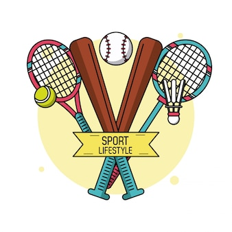 テニスとバドミントンの野球のバットとラケット