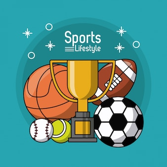 Трофей и футбол баскетбол футбол теннис и бейсбол