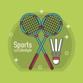 スポーツライフスタイルのカラフルなポスター、バドミントンのアイコン