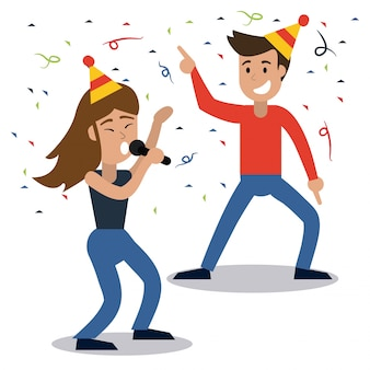 Пара танцующих вечеринок конфетти