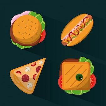 ファーストフードバーガーとホットドックとピザとサンドイッチ